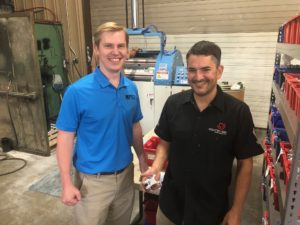 MFI Sales Manager Cole Mathisen (Left) with Industry 9 Plant Manager Mike Rischitelli