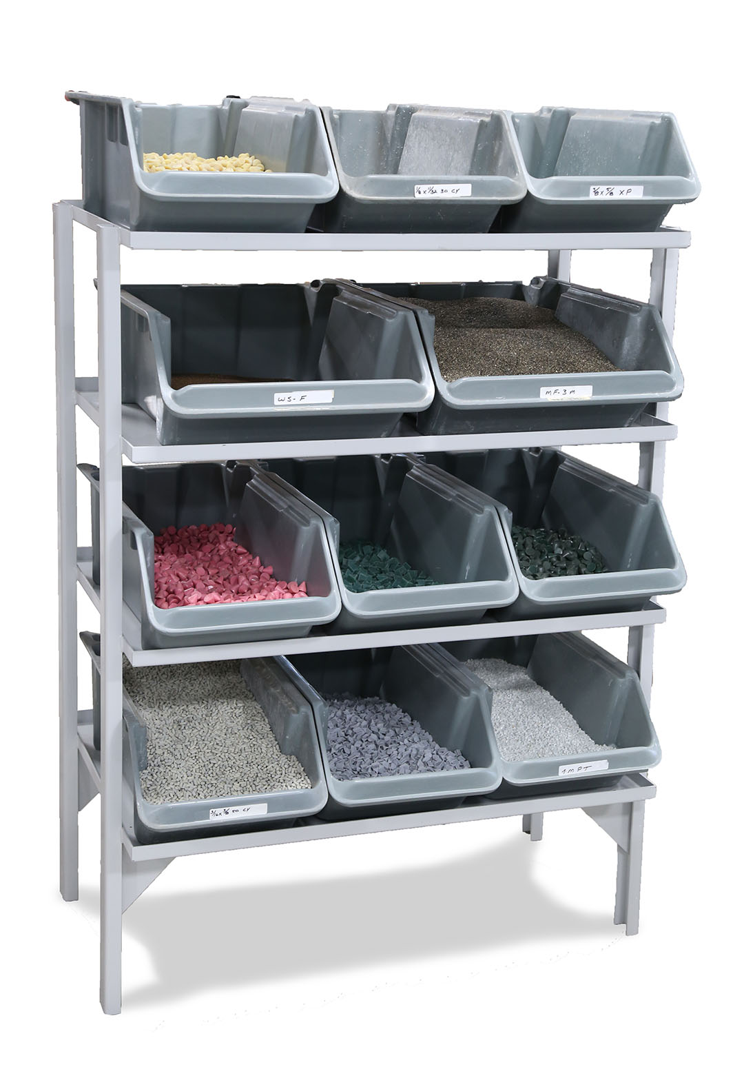 Rack filled with tumbling media